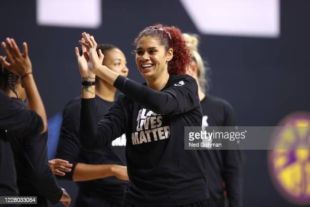 Amanda Zahui B of the New York Liberty smiles prior to a game against the Indiana Fever on August 13, 2020 at Feld Entertainment Center in Palmetto,...