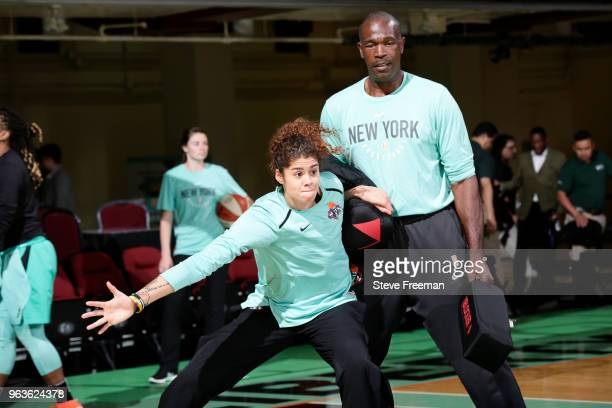 Amanda Zahui B of the New York Liberty warms up before the game against the Dallas Wings on May 29 2018 at Westchester County Center in White Plains...