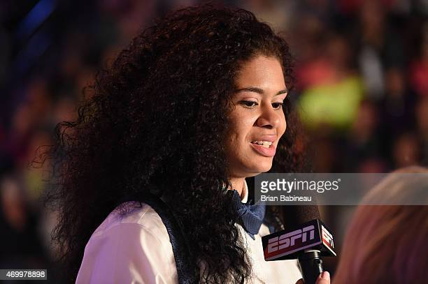 Amanda Zahui B speaks with ESPN during the 2015 WNBA Draft Presented By State Farm on April 16 2015 at Mohegan Sun Arena in Uncasville Connecticut...