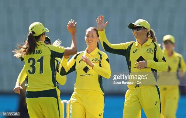 AmandaJade Wellington of Australia celebrates after dismissing Katie Perkins of New Zealand during the first Women's International Twenty20 match...