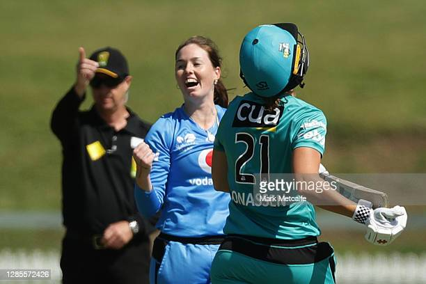 Amanda-Jade Wellington of the Strikers celebrates taking the wicket of Jess Jonassen of the Heat during the Women's Big Bash League WBBL match...