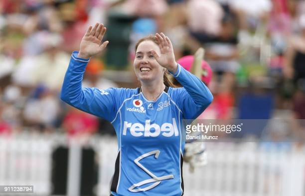 AmandaJade Wellington of the Strikers celebrates taking the wicket of Sixers Ellyse Perry during the Women's Big Bash League match between the Sydney...