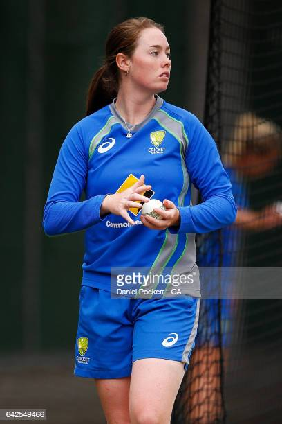 AmandaJade Wellington prepares tobowl during a Southern Stars training session at Melbourne Cricket Ground on February 18 2017 in Melbourne Australia