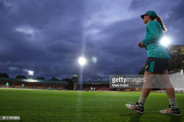 AmandaJade Wellington stands in the outfield as hse fields during an Australian women's Ashes series training session at North Sydney Oval on...