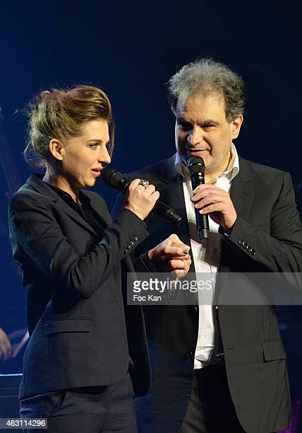 Amandine Bourgeois and Raphael Mizrahi attend 'La 3eme Nuit De La Deprime 2015 ' At Folies Bergeres on February 9 2015 in Paris France