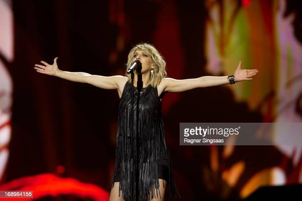 Amandine Bourgeois of France performs during a dress rehearsal ahead of the finals of the Eurovision Song Contest 2013 at Malmo Arena on May 17 2013...