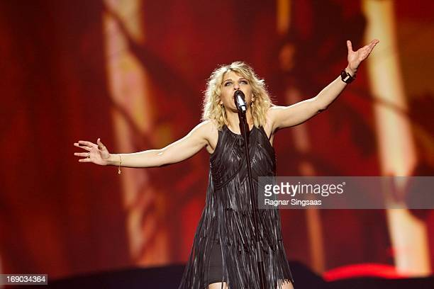 Amandine Bourgeois of France performs on stage during the grand final of the Eurovision Song Contest 2013 at Malmo Arena on May 18 2013 in Malmo...