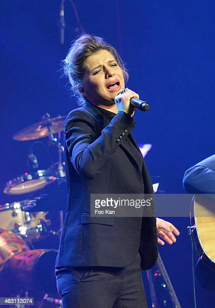 Amandine Bourgeois performs during 'La 3eme Nuit De La Deprime 2015 ' At Folies Bergeres on February 9 2015 in Paris France