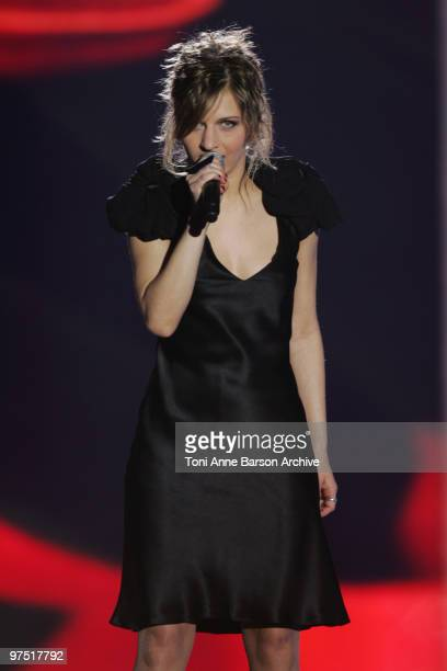Amandine Bourgeois performs during the 25th Victoires de la Musique at Zenith de Paris on March 6 2010 in Paris France