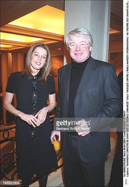 Amandine Cornette De Saint Cyr and 'Patrice Carmouze' 'Musique Contre L'Oubli Amnesty International' gala at the Champs Elysee theater