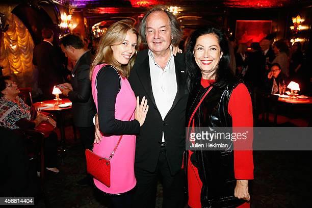 Amandine Cornette de Saint Cyr Gonzague Saint Bris and Sylvana Lorenz attend the Anne de Bourbon Siciles book signing at Maxim's restaurant on...