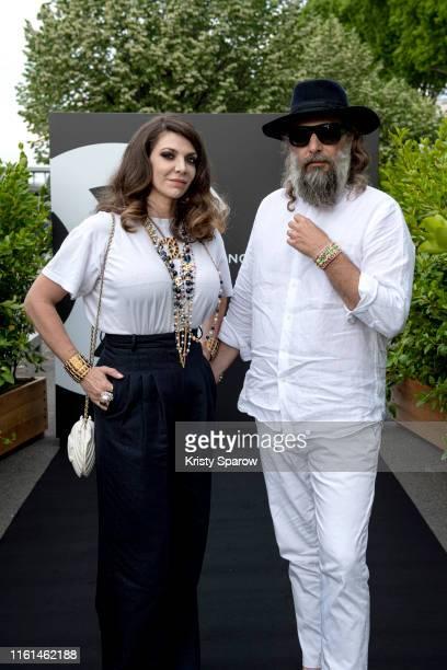 Amandine de la Richardiere and Sebastien Tellier attend the Noir et Blanc de Chanel Fall/Winter 2019 Makeup Collection Yachts De Paris on July 11...