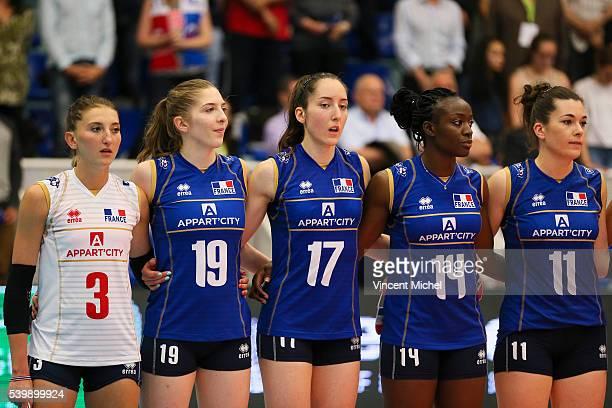 Amandine Giardino Nina Stojilkovic Alexandra Dascalu Mariam Sidibe and Clementine Druenne of France during the CEV European League match at Salle...
