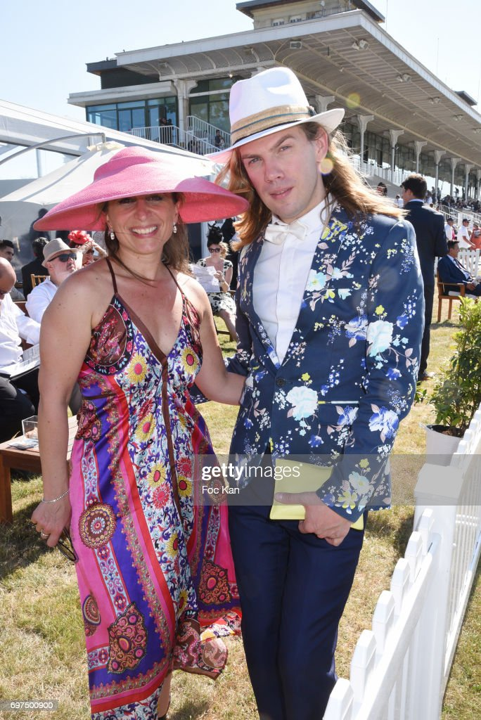 Amandine Henau from Lagardere and Europe1 and Christophe Guillarme attend the 'Prix de Diane Longines 2017' on June 18, 2017 at Chantilly, France.