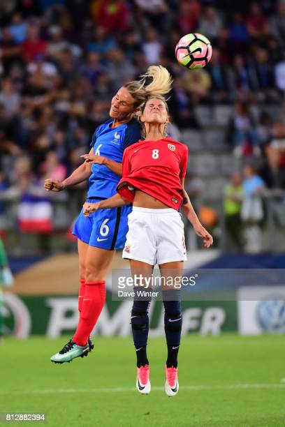 Amandine Henry of France and Andrine Stolsmo Hegerberg of Norway during the women's international friendly match between France and Norway on July 11...