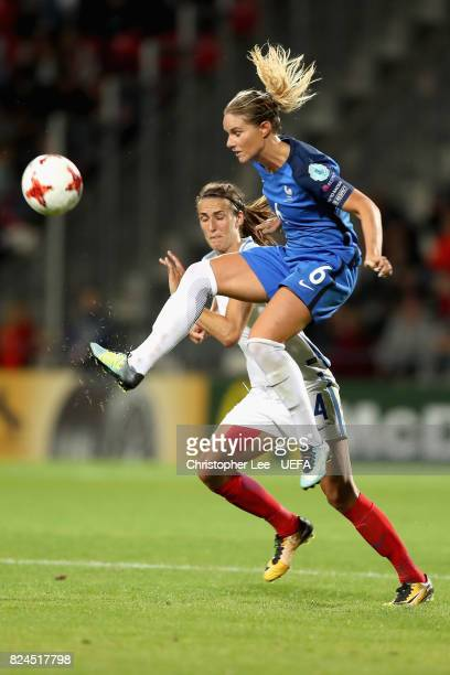 Amandine Henry of France and Jill Scott of England battle for possession during the UEFA Women's Euro 2017 Quarter Final match between France and...