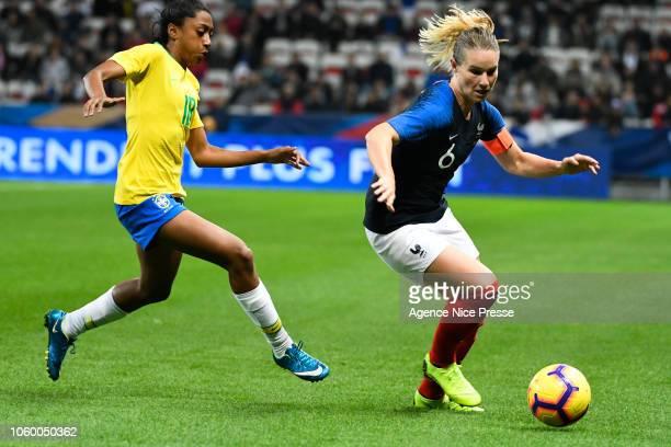 Amandine Henry of France and Kerolin Ferraz of Brasil during the International Women match between France and Brazil at Allianz Riviera Stadium on...