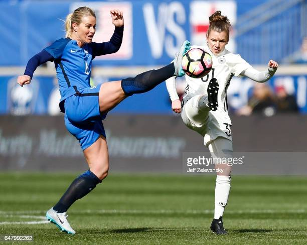 Amandine Henry of France and Linda Dallmann of Germany fight for the ball during their match at Red Bull Arena on March 4 2017 in Harrison New Jersey