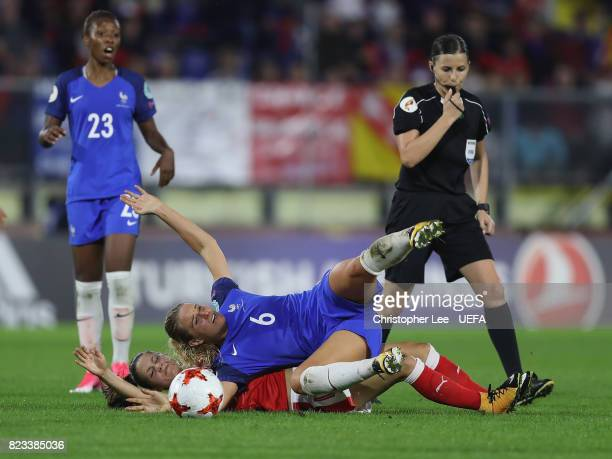 Amandine Henry of France battles with Viola Calligaris of Switzerland during the UEFA Women's Euro 2017 Group C match between Switzerland and France...