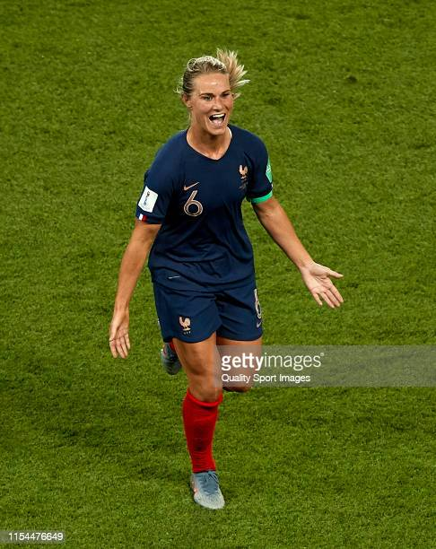 Amandine Henry of France celebrates after scoring their team's fourth goal during the 2019 FIFA Women's World Cup France group A match between France...