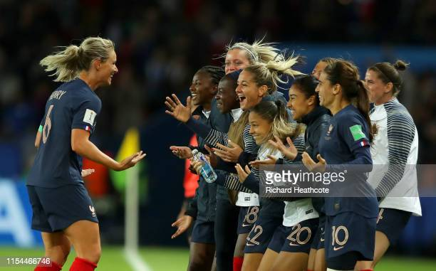 Amandine Henry of France celebrates with teammates after scoring her team's fourth goal during the 2019 FIFA Women's World Cup France group A match...