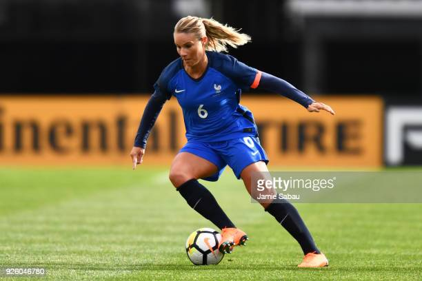 Amandine Henry of France controls the ball in the first half against England on March 1 2018 at MAPFRE Stadium in Columbus Ohio