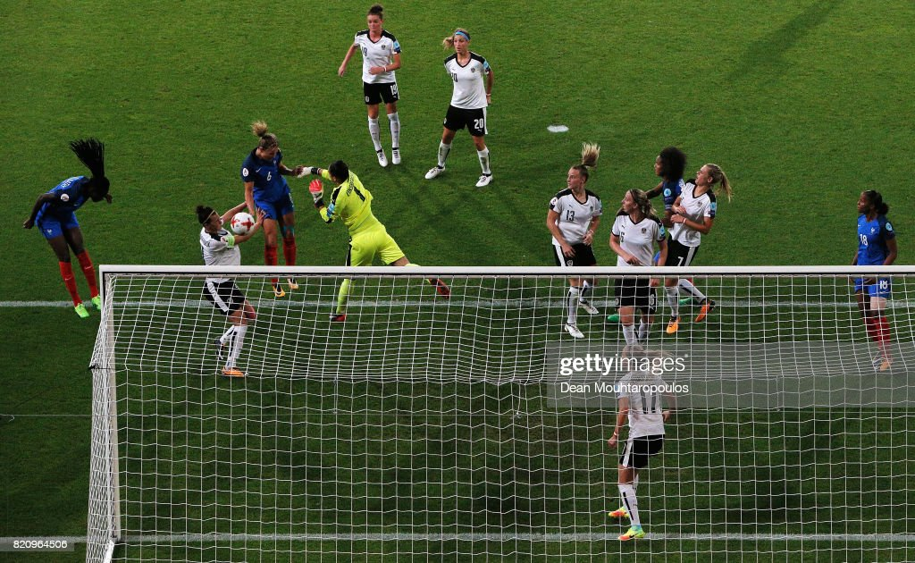 Amandine Henry of France headers and scores her teams first goal of the game past Goalkeeper, Manuela Zinsberger of Austria during the Group C match between France and Austria during the UEFA Women's Euro 2017 at Stadion Galgenwaard on July 22, 2017 in Utrecht, Netherlands.