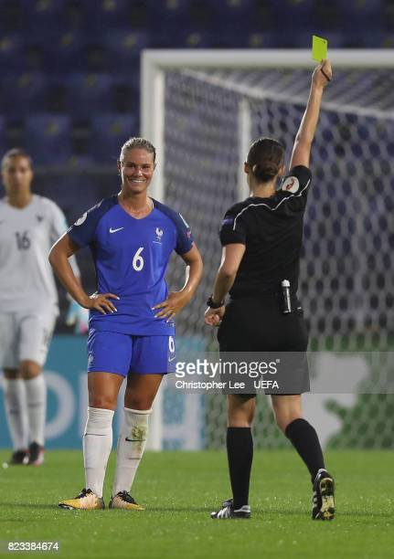 Amandine Henry of France is booked by referee Katalin Kulcsar during the UEFA Women's Euro 2017 Group C match between Switzerland and France at Rat...