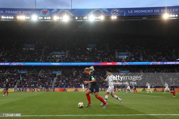 Amandine Henry of France is closed down by Soyun Ji of Korea Republic during the 2019 FIFA Women's World Cup France group A match between France and...