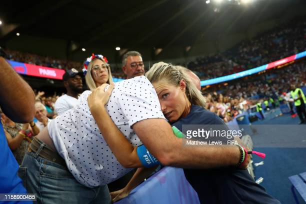 Amandine Henry of France is consoled following the 2019 FIFA Women's World Cup France Quarter Final match between France and USA at Parc des Princes...