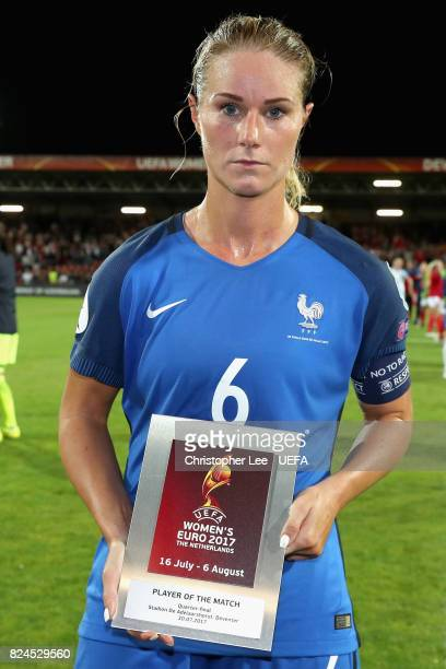 Amandine Henry of France poses with her player of the match award after the UEFA Women's Euro 2017 Quarter Final match between France and England at...