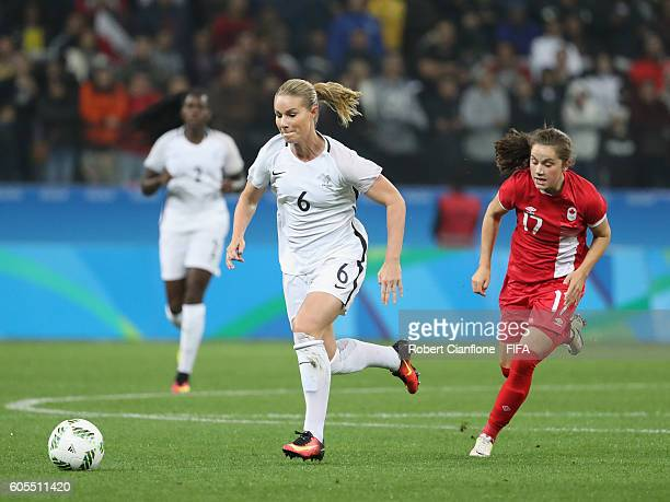 Amandine Henry of France runs with the ball during the Women's Football Quarter Final match between Canada and France on Day 7 of the Rio 2016...