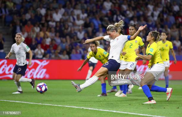 Amandine Henry of France scores her team's second goal during the 2019 FIFA Women's World Cup France Round Of 16 match between France and Brazil at...