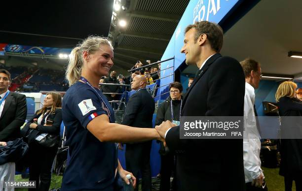Amandine Henry of France talks to Emmanuel Macron, President of France following the 2019 FIFA Women's World Cup France group A match between France...
