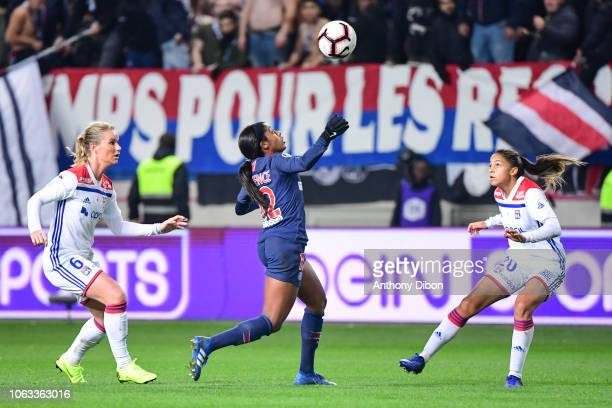 Amandine Henry of Lyon Ashley Lawrence of PSG and Delphine Cascarino of Lyon during the Women's Division 1 match between Paris Saint Germain and...