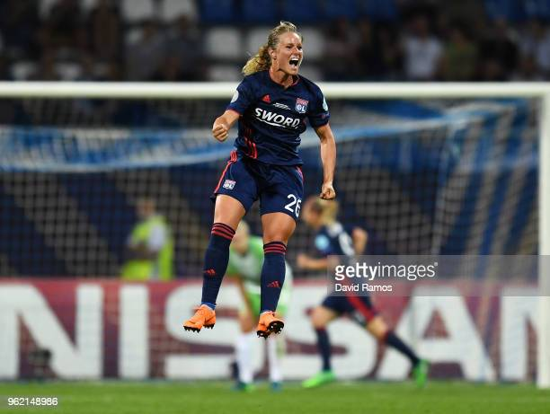 Amandine Henry of Lyon celebrates after Ada Hegerberg of Lyon scoring her sides third goal during the UEFA Womens Champions League Final between VfL...