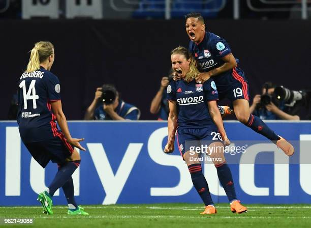 Amandine Henry of Lyon celebrates after scoring her sides first goal during the UEFA Womens Champions League Final between VfL Wolfsburg and...