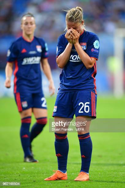 Amandine Henry of Lyon reacts during the UEFA Womens Champions League Final between VfL Wolfsburg and Olympique Lyonnais on May 24 2018 in Kiev...