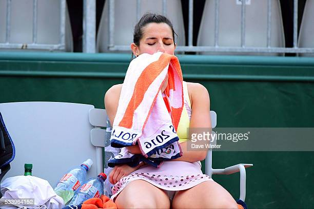 Amandine Hesse during the Women's Singles first round on day three of the French Open 2016 at Roland Garros on May 24 2016 in Paris France