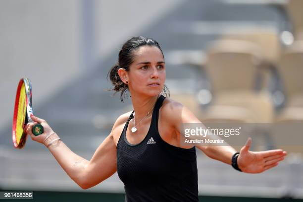 Amandine Hesse of France plays a forehand during a practice session ahead of the French Open at Roland Garros on May 22 2018 in Paris France