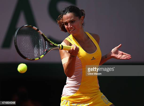 Amandine Hesse of France plays a forehand during her Women's Singles match against Samantha Stosur of Australia during day four of the 2015 French...