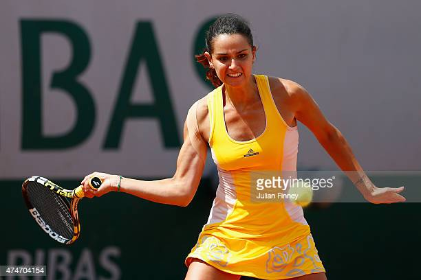 Amandine Hesse of France plays a forehand in her Women's Singles match against Jarmila Gajdosova of Australia on day two of the 2015 French Open at...