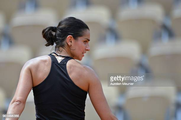 Amandine Hesse of France reacts during a practice session ahead of the French Open at Roland Garros on May 22 2018 in Paris France