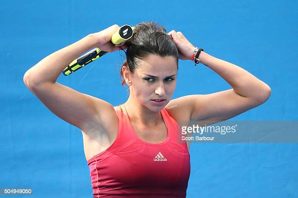 Amandine Hesse of France reacts in her match against Kimiko DateKrumm of Japan during the first round of 2016 Australian Open Qualifying at Melbourne...