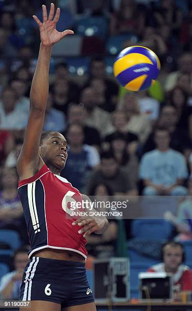 Amandine Mauricette of France receives a ball during a match against Italy during the Women's European Volleyball Championship in Wroclaw on...