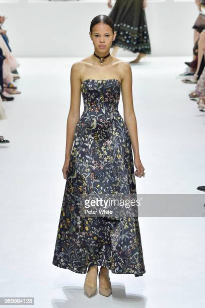Amandine Pouilly walks the runway during the Christian Dior Haute Couture Fall Winter 2018/2019 show as part of Paris Fashion Week on July 2 2018 in...