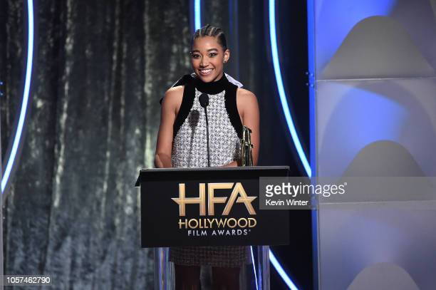 Amandla Stenberg accepts the Hollywood Breakout Performance Actress Award onstage for The Hate You Give during the 22nd Annual Hollywood Film Awards...