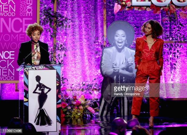 Amandla Stenberg and Elaine Welteroth speak onstage during the 2019 Essence Black Women in Hollywood Awards Luncheon at Regent Beverly Wilshire Hotel...