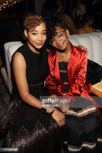 Amandla Stenberg and Marsai Martin attend Common's 5th Annual Toast to the Arts at Ysabel on February 22 2019 in West Hollywood California