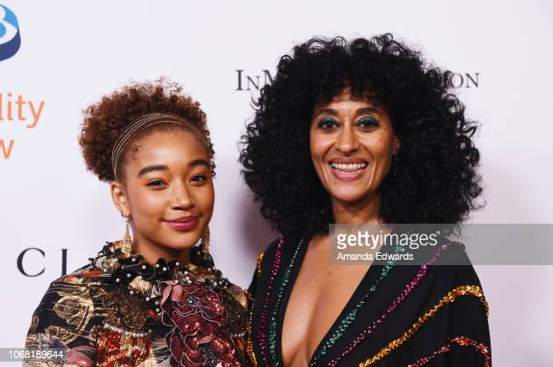 Amandla Stenberg and Tracee Ellis Ross arrive at Equality Now's Annual Make Equality Reality Gala at The Beverly Hilton Hotel on December 3 2018 in...